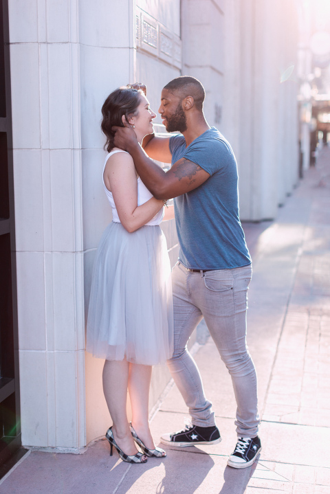 Stephen's Ave Engagement Session, tulle skirt, calgary wedding photographer nicole sarah, kissing