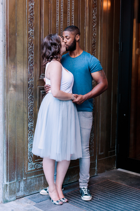 Stephen's Ave Engagement Session, tulle skirt, kissing, calgary wedding photographer nicole sarah