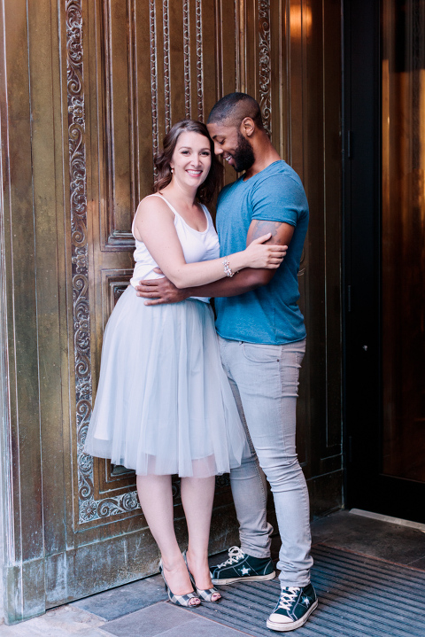 Stephen's Ave Engagement Session, tulle skirt, walking, calgary wedding photographer nicole sarah
