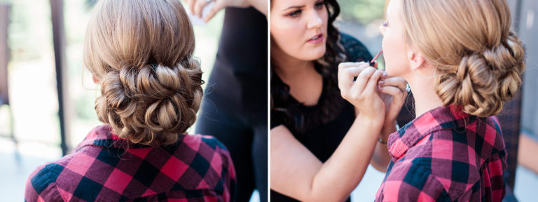 photo of make up at the fairmont banff springs hotel from calgary wedding photographer nicole sarah