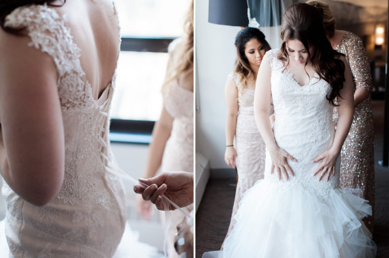 bride getting ready, wedding dress, bridesmaids tying dress,