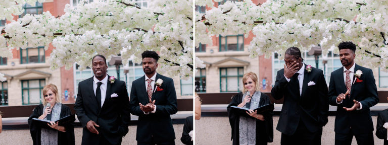 rooftop wedding calgary, cherry blossoms, urban wedding photos, calgary wedding photographers
