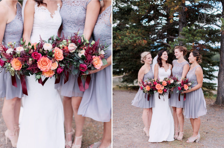 bridesmaids, banff, sunset photo, bridal bouquet, nicole sarah, calgary wedding photographers