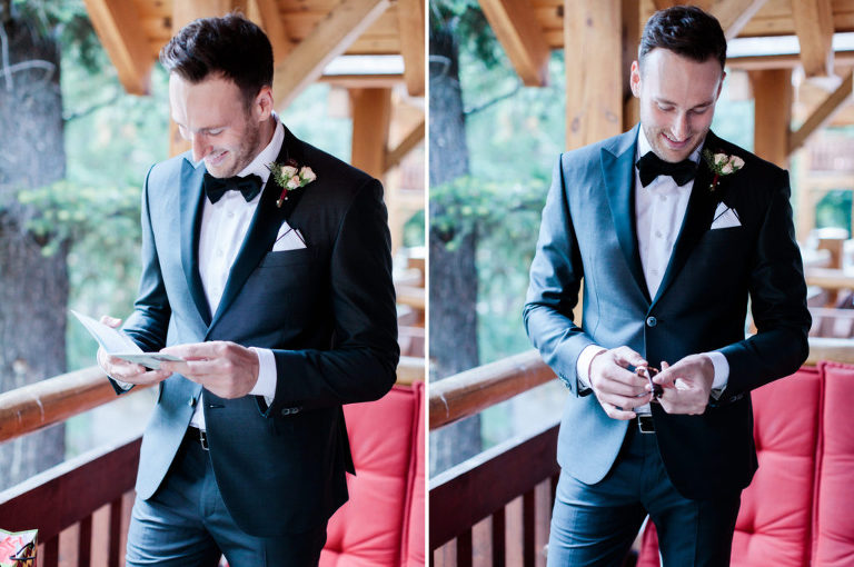 groom getting ready, bridal portrait, gift, calgary wedding photographers nicole sarah, banff