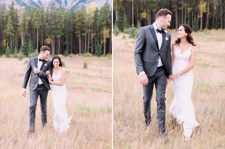bride groom portrait, sunset photo, bridal bouquet, nicole sarah, calgary wedding photographers, mountains