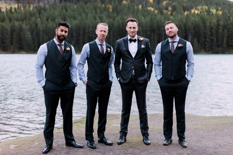 bridal party, wedding photographers, fall, mountains, banff, canmore, nicole sarah, calgary wedding photographers