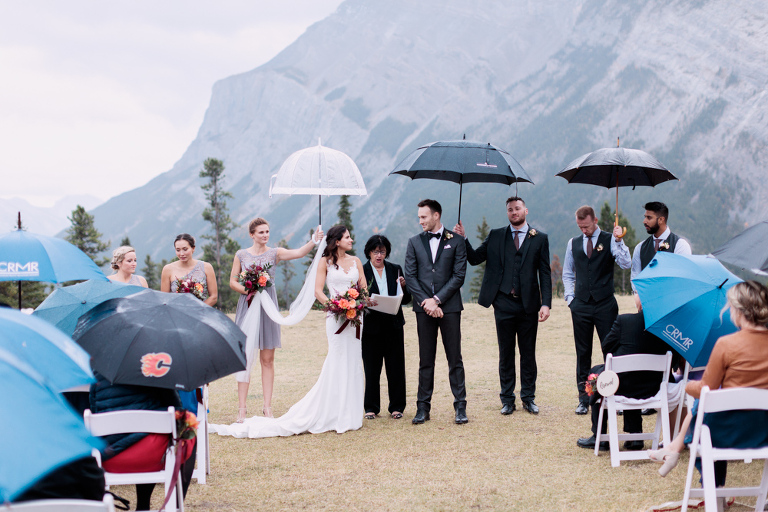 wedding ceremony, sunset photo, nicole sarah, calgary wedding photographers, mountains, banff, tunnel mountain