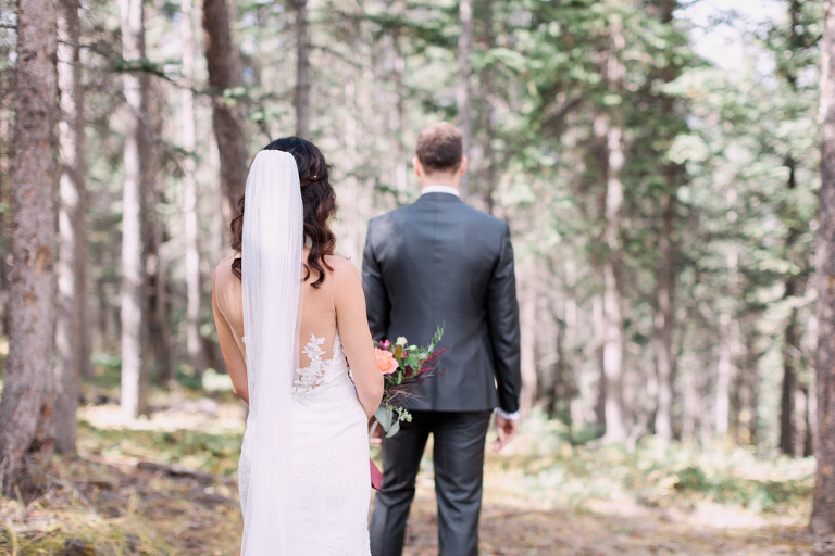 first look, bride groom first look, wedding portrait, calgary wedding photographers, nicole sarah, banff wedding