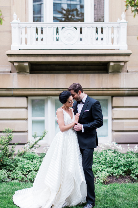intimate glenbow museum wedding, calgary wedding photographers, hayley paige wedding dress, striped hayley paige wedding dress, wedding gown, striped gown, central memorial library, editorial wedding images, art gallery wedding, modern wedding, romantic art gallery wedding, museum wedding, film wedding photography