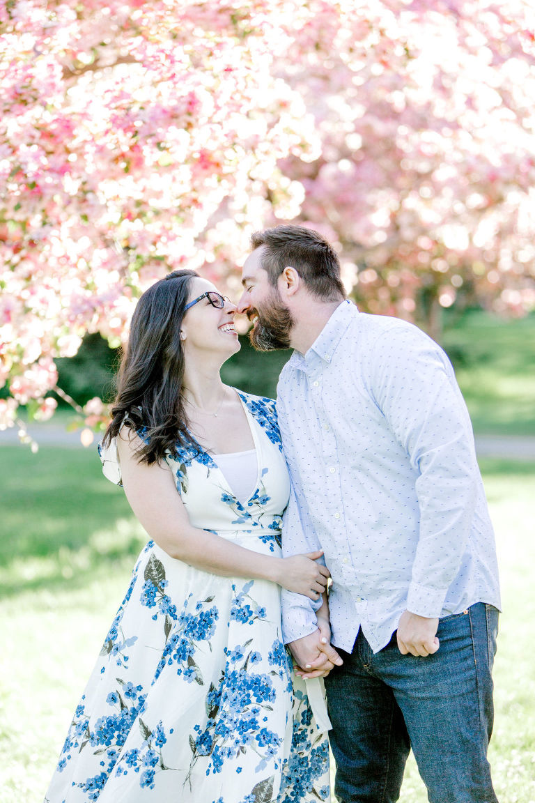 Calgary Wedding Photographers Spring Blossom Engagement, spring engagement, spring wedding, film engagement, bright engagement photos, engagement wardrobe ideas, engagement sunset photos, groom posing ideas, engagement style, engagement clothing